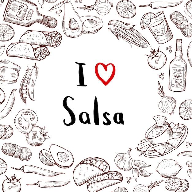 A Dessiné Des éléments De La Cuisine Mexicaine Avec Le Cercle De L'espace Vide Au Centre. Cuisine Mexicaine Et Cuisine Mexicaine Vecteur Premium