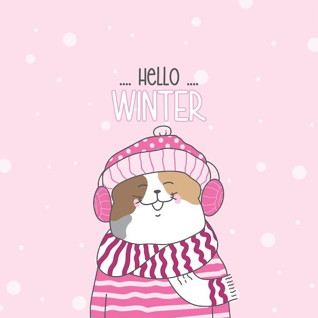 Dessine un joli chat dans la neige pour la saison d'hiver Vecteur Premium
