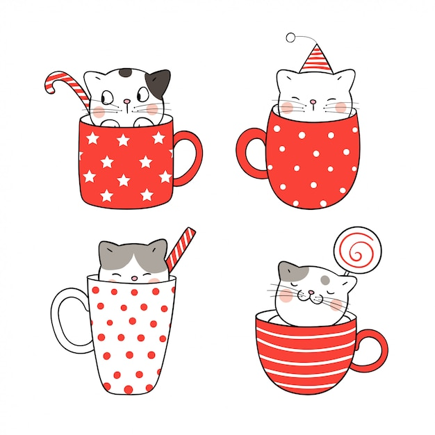 Dessine un joli chat dans une tasse de café et de thé pour noël. Vecteur Premium