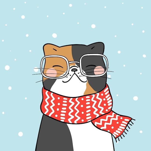 Dessine un joli chat avec un foulard de beauté dans la neige pour la saison d'hiver Vecteur Premium