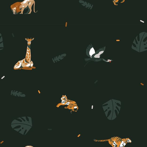 Dessiné à La Main Dessin Animé Abstrait Graphique Moderne Safari Africain Nature Illustrations Art Collage Modèle Sans Couture Avec Tigres, Lion, Oiseau Grue Et Feuilles De Palmier Tropical Isolés Sur Fond Noir Vecteur Premium