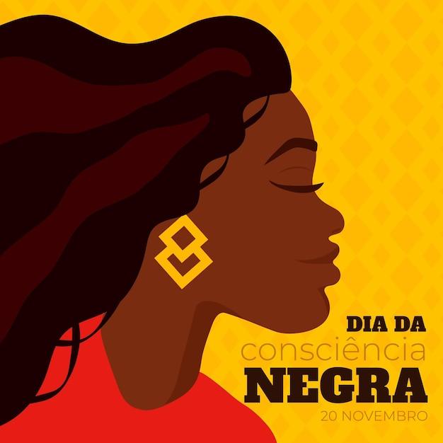 Dessiné à La Main Dia De Consiencia Negra Vecteur gratuit
