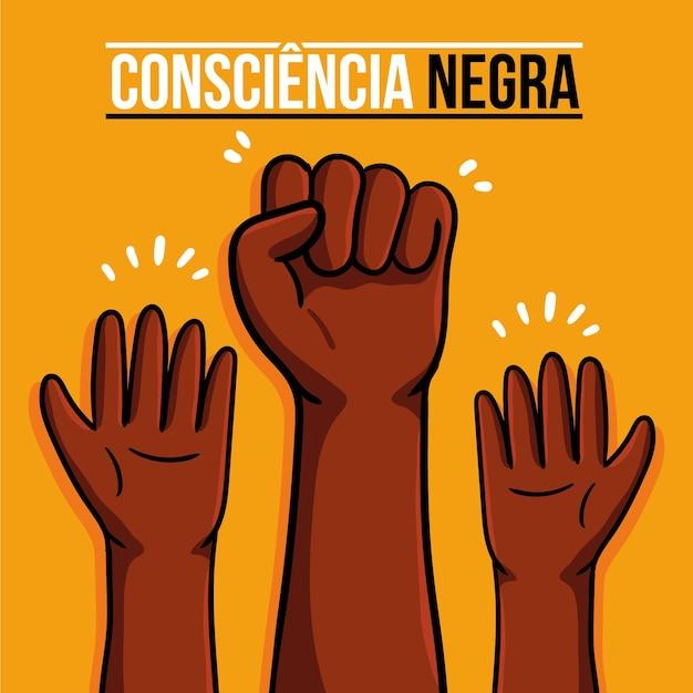 Dessiné à La Main Dia Da Consciencia Negra Vecteur Premium