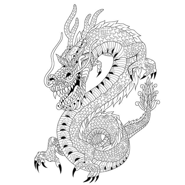 Dessiné De Main De Dragon Dans Un Style Zentangle Vecteur Premium
