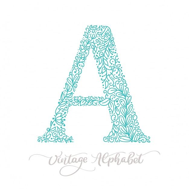 Dessiné à la main un logo vintage de lettre monogram calligraphie Vecteur Premium