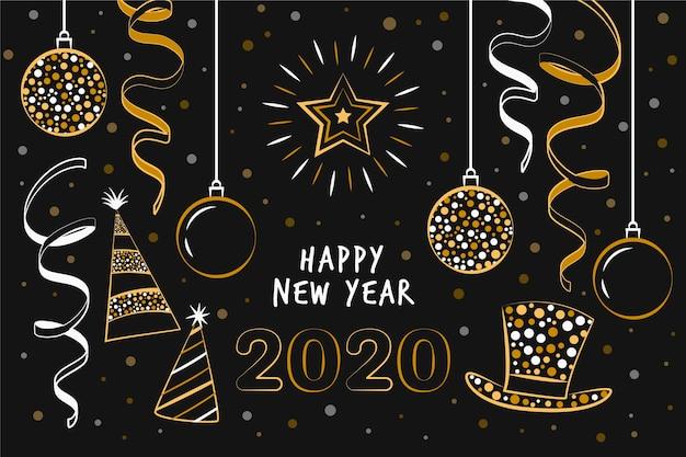 Dessiné à la main nouvel an 2020 Vecteur gratuit