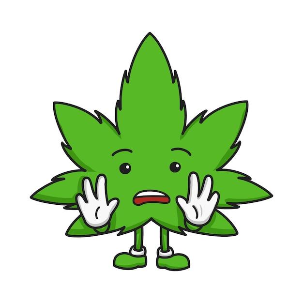 Dessiné à la main de personnage de dessin animé de feuille de marijuana Vecteur Premium