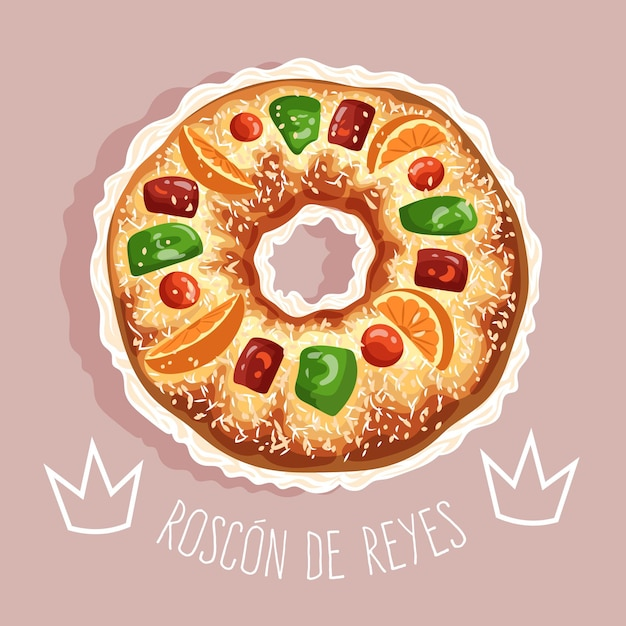 Dessiné à La Main Roscon De Reyes Illustré Vecteur Premium