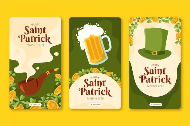 Dessiné à La Main St. Histoires Instagram De Patrick's Day Vecteur gratuit