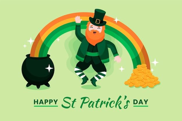 Dessiné à La Main St. Leprechaun De Patrick's Day Avec Arc En Ciel Vecteur gratuit