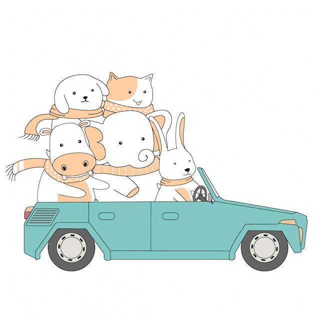 Dessiné à la main tour de l'amitié voiture ensemble animaux mignons cartoon Vecteur Premium