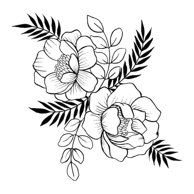 Dessiné à La Main Valentine Floral Bouquet Vecteur Premium