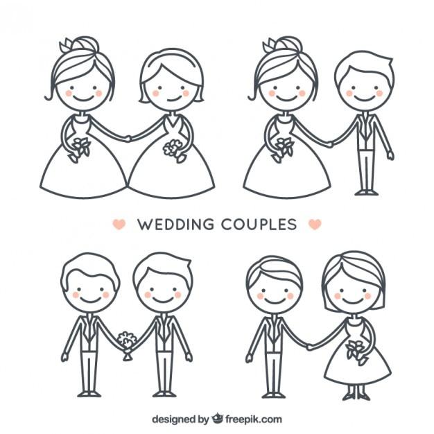 Dessiné mariage mignon couple de collection à la main Vecteur gratuit