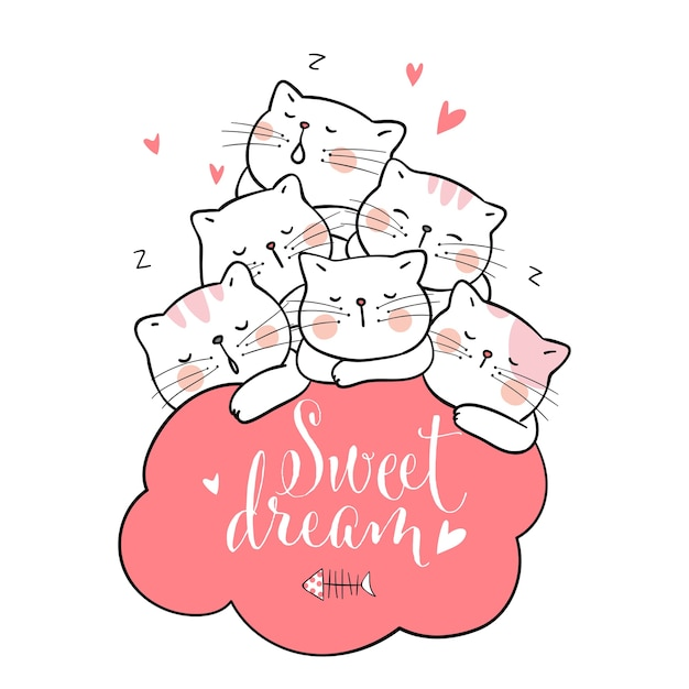 Dessine un sommeil de chat avec nuage rose et mot doux rêve Vecteur Premium