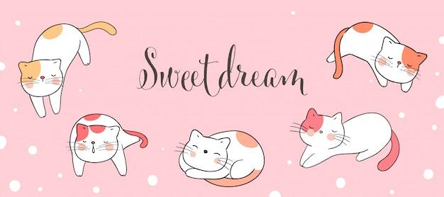 Dessiner bannière chat dormant avec mot doux rêve. Vecteur Premium