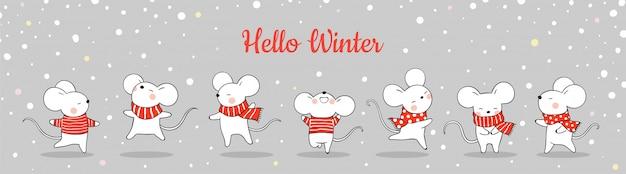 Dessiner une bannière de joli rat dans la neige pour noël Vecteur Premium