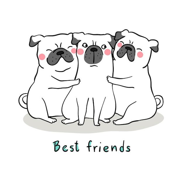 Dessiner un câlin chien blanc avec amour et mot meilleur ami Vecteur Premium