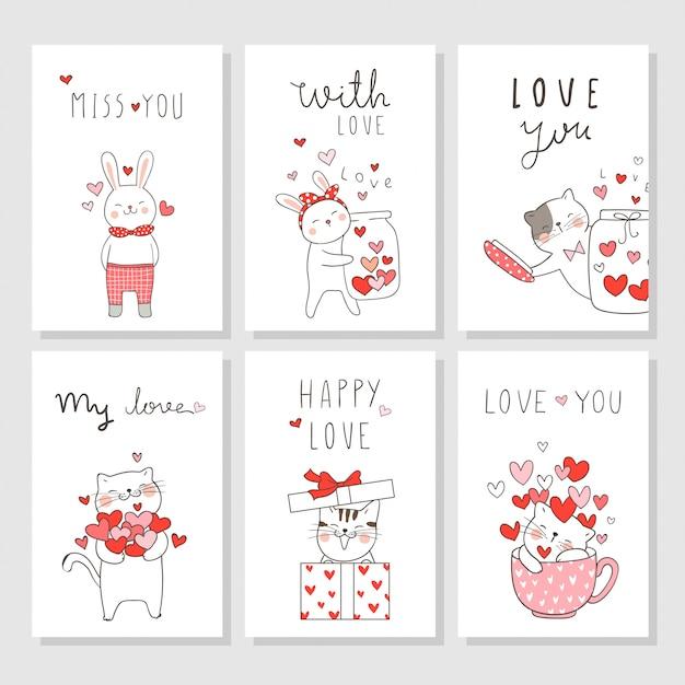 Dessiner des cartes de jeu de vecteur pour la saint-valentin avec animal mignon. Vecteur Premium