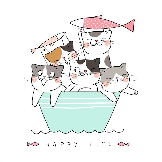 Dessiner un chat tenant un poisson dans un bateau. Vecteur Premium
