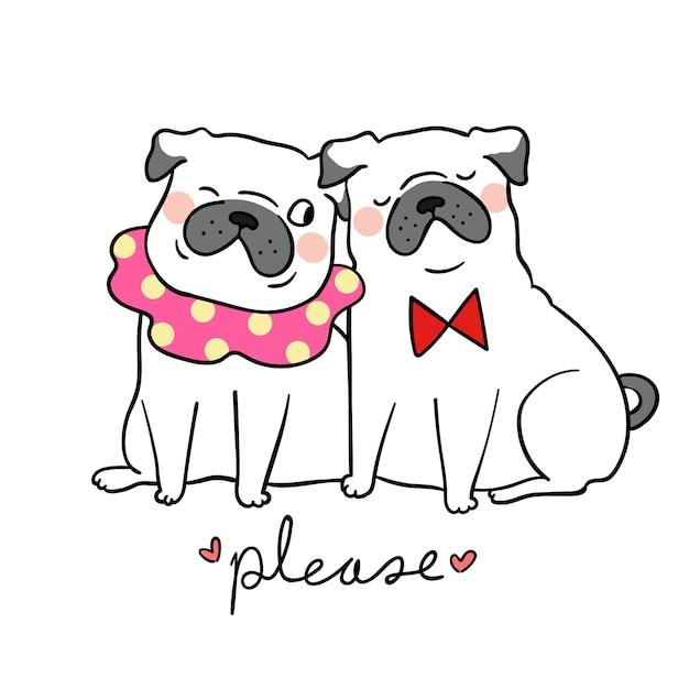 Dessiner couple amour carlin chien et mot s'il vous plaît Vecteur Premium