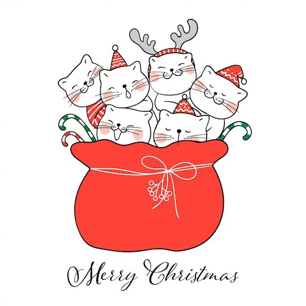 Dessiner un joli chat dans le sac rouge du père noël pour noël Vecteur Premium