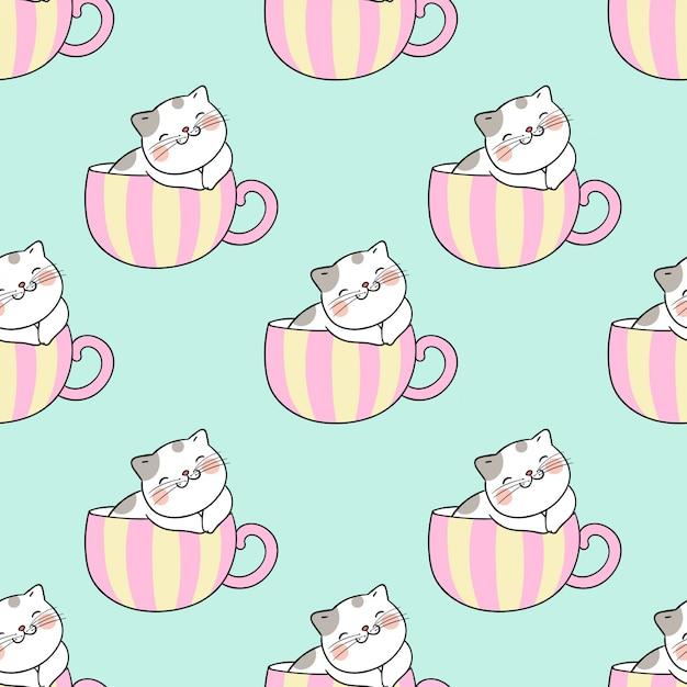 Dessiner modèle sans couture chat dormir dans une tasse de thé. Vecteur Premium