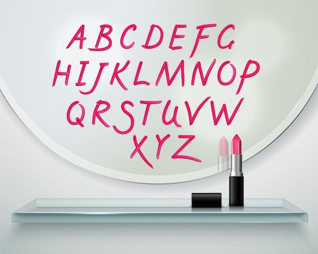 Dessinés sur composition réaliste de lettres alphabet rouge miroir rouge à lèvres rondes Vecteur gratuit