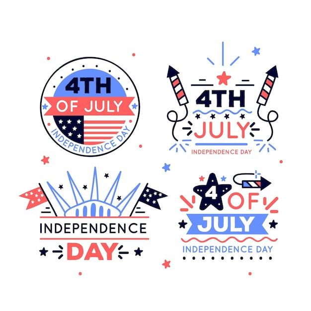 Dessinés à La Main Le 4 Juillet - Insignes De La Fête De L'indépendance Vecteur gratuit