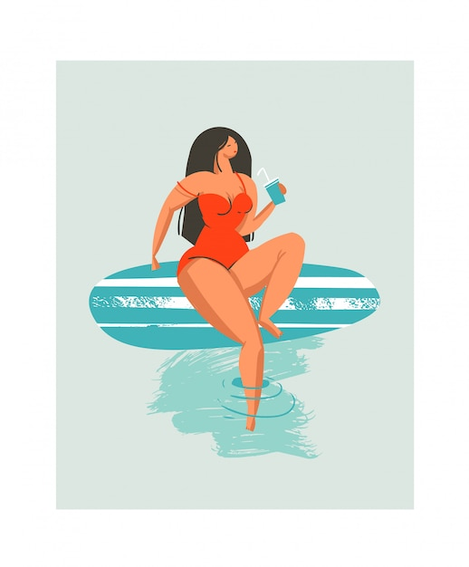 Dessinés à La Main Abstrait Mignon Heure D'été Plage Surfeur Fille Illustration Avec Maillot De Bain Rouge Et Planche De Surf Sur Fond Bleu Vecteur Premium