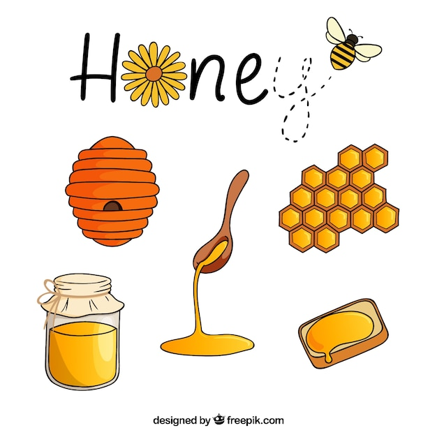 Dessinés à la main les accessoires de miel paquet Vecteur gratuit