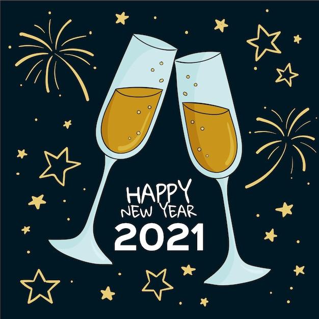 Dessinés à La Main Bonne Année 2021 élégantes Coupes De Champagne Vecteur Premium
