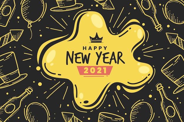 Dessinés à La Main Bonne Année 2021 Griffonnages Dorés Vecteur gratuit