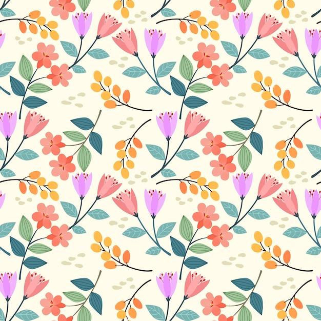 Dessinés à la main coloré fleurs sans soudure modélisme. peut utiliser pour le papier peint en tissu textile. Vecteur Premium