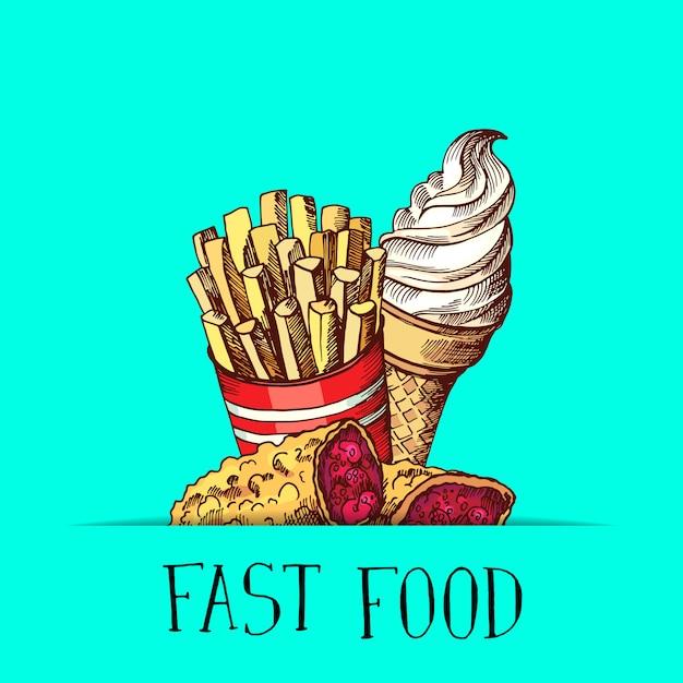 Dessinés à la main couleur fast food glace, tarte et pommes de terre frites se sont réunis Vecteur Premium