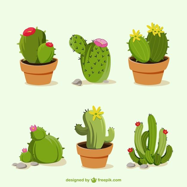 Dessinés à la main des dessins animés de cactus Vecteur gratuit