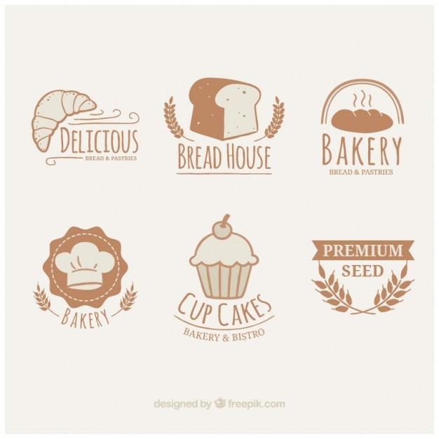 Dessinés à la main logotypes de boulangerie mignon Vecteur gratuit