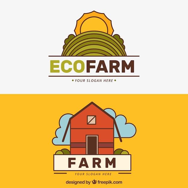 Dessinés à La Main Logotypes éco Agricoles Vecteur Premium