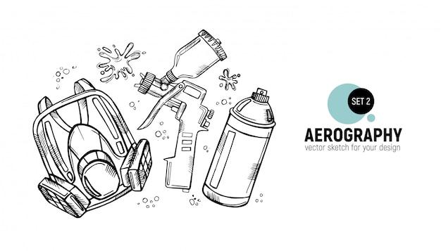 Dessinés à la main des outils d'aérographie. Vecteur Premium