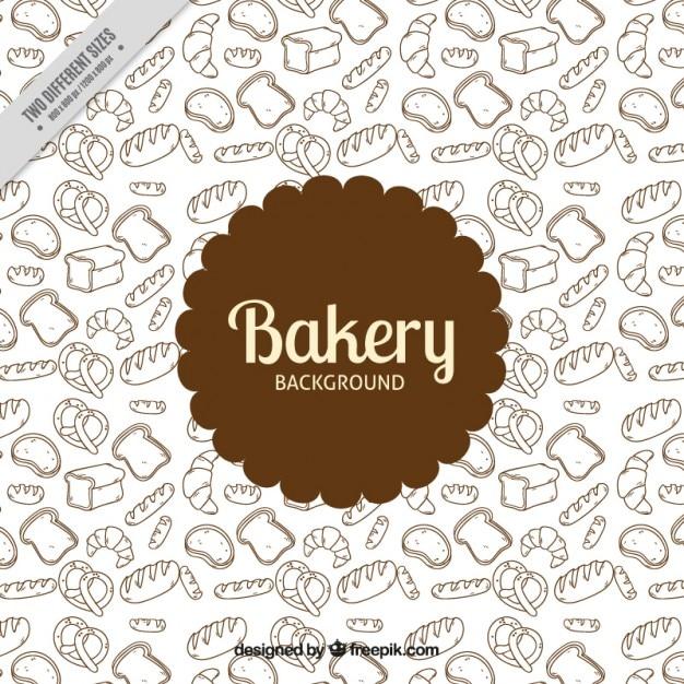Dessinés à la main des produits de boulangerie fond Vecteur gratuit