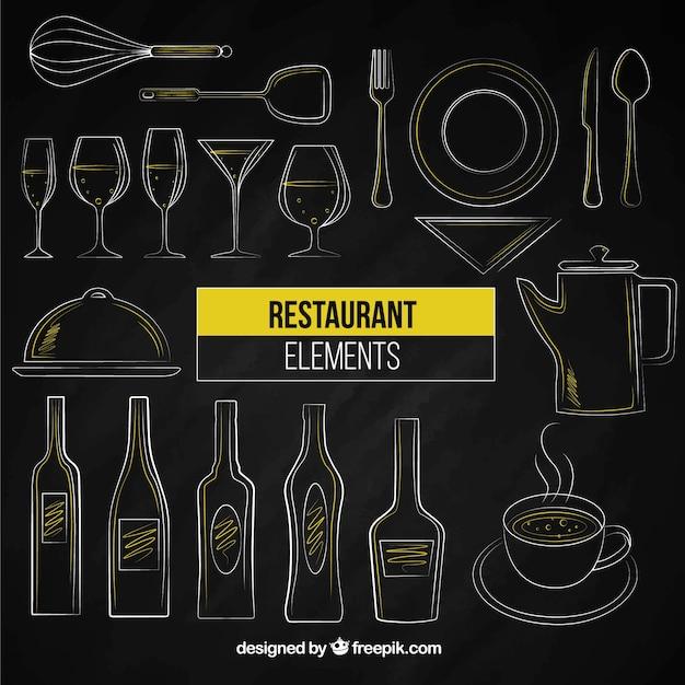 Dessinés à la main restaurants éléments Vecteur gratuit