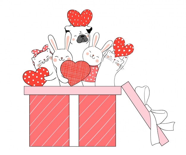 Dessinez un animal mignon dans une boîte cadeau pour valentine. Vecteur Premium
