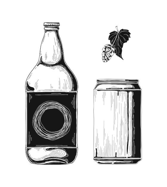Dessinez Des Bouteilles De Bière Et Des Canettes En Aluminium. . Vecteur Premium