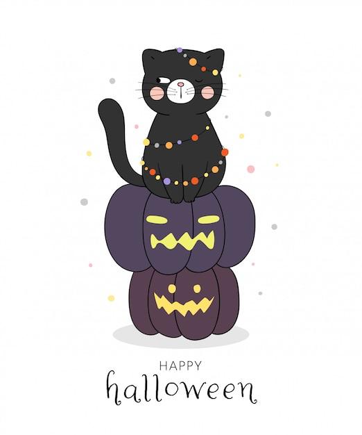 Dessinez Un Chat Noir Assis Sur Une Citrouille Pour Halloween. Vecteur Premium