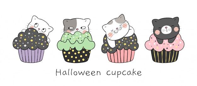Dessinez Un Chat Noir Qui Dort Sur Un Petit Gâteau. Pour Halloween. Vecteur Premium