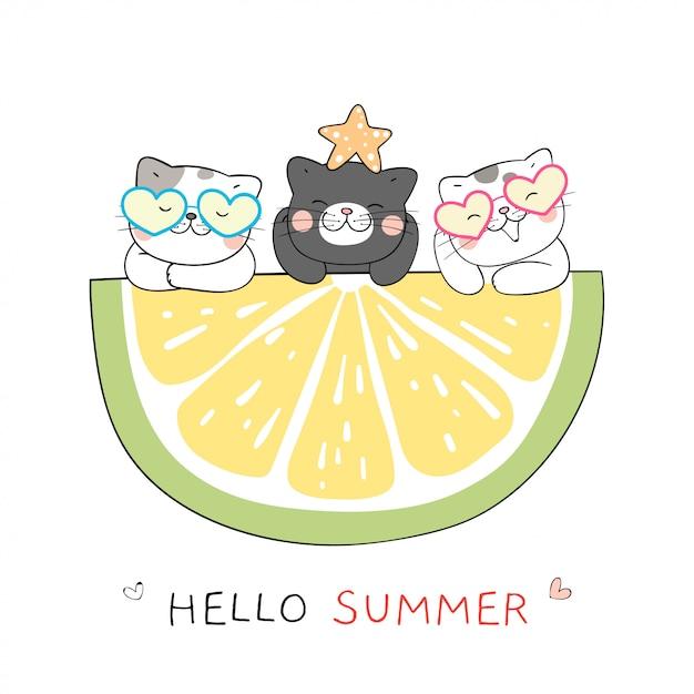 Dessinez Un Chat Avec Une Tranche De Citron Pour Le Style De Dessin Animé De L'été. Vecteur Premium