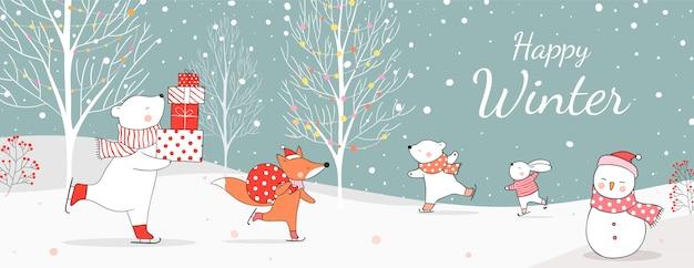 Dessinez un ours polaire tenant des cadeaux et un renard avec un sac pour noël. Vecteur Premium
