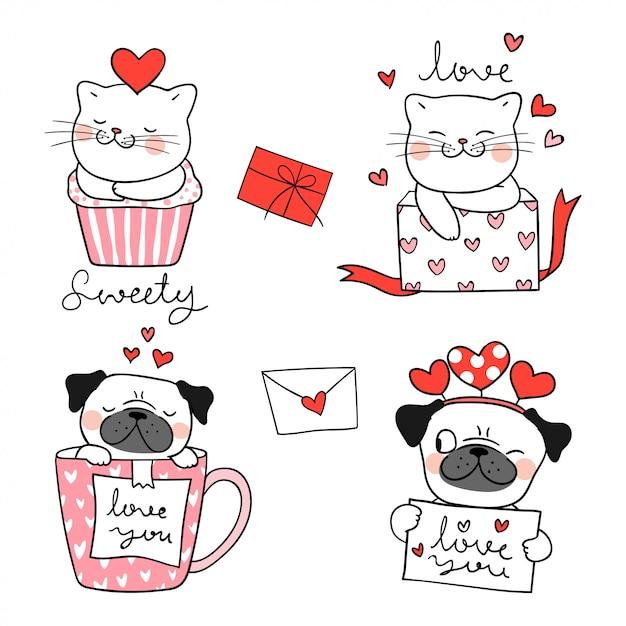 Dessinez le portrait d'un chat et d'un chien carlin pour la saint-valentin. Vecteur Premium