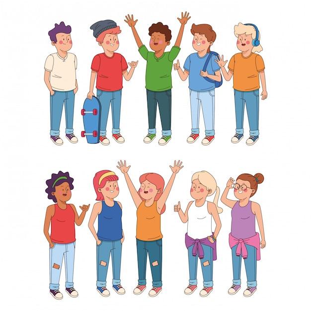 Dessins animés adolescents et filles Vecteur gratuit