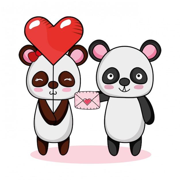 Dessins animés d'amour et d'animaux Vecteur Premium