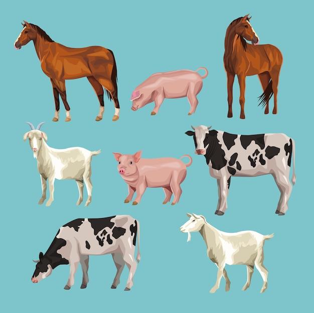 Dessins animés d'animaux de ferme Vecteur Premium